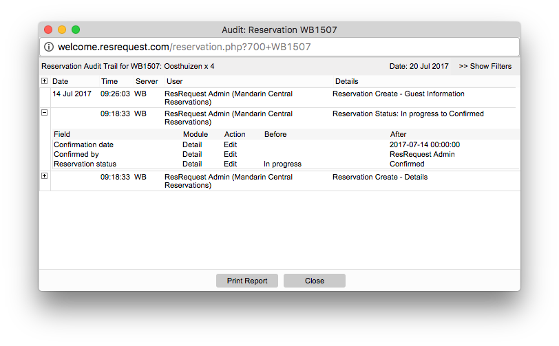Audit trail popup on a reservation