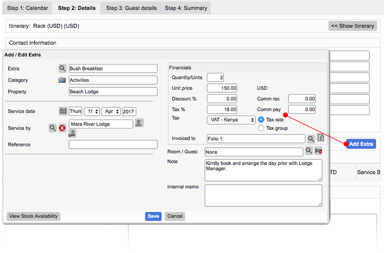 Adding Extras while booking