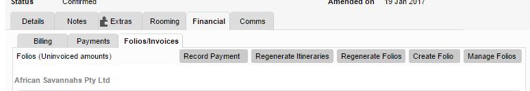 Regenerate folios button on folios tab