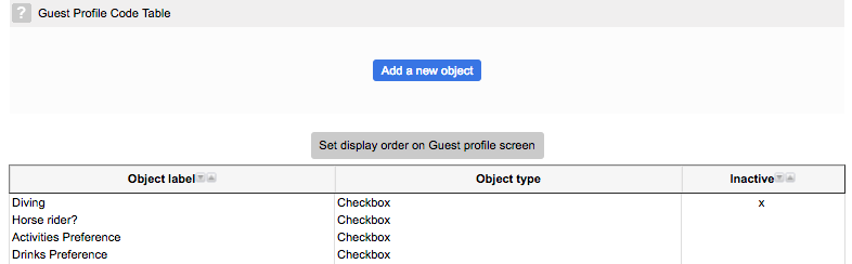 Guest profile code table