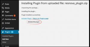 ResNova activate plugin
