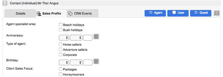 Sales profile entry screen