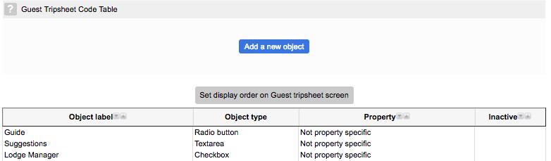 Tripsheet code table
