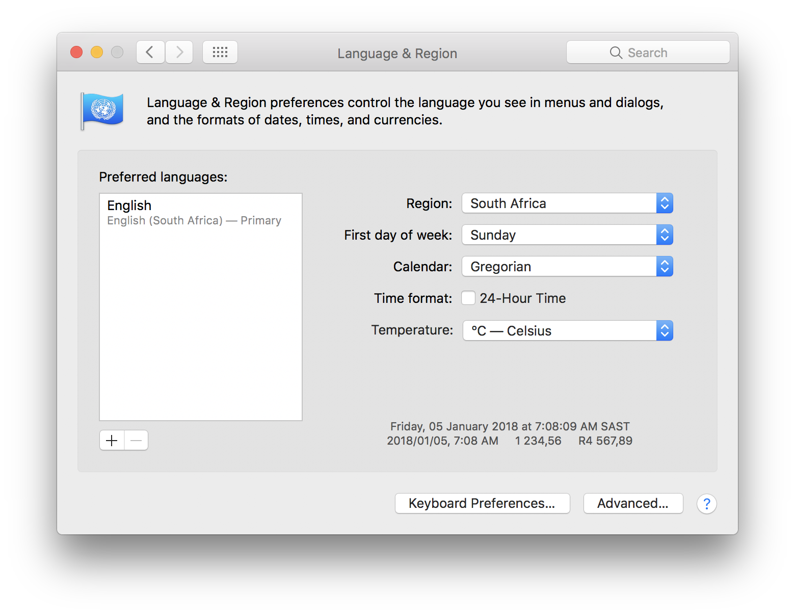 Language and Region Mac popup