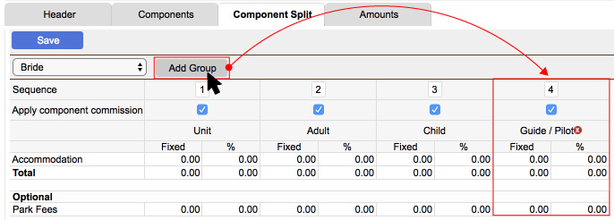 Adding a Rate group on the Component split screen
