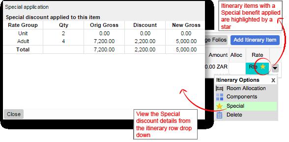 Specials discount popup