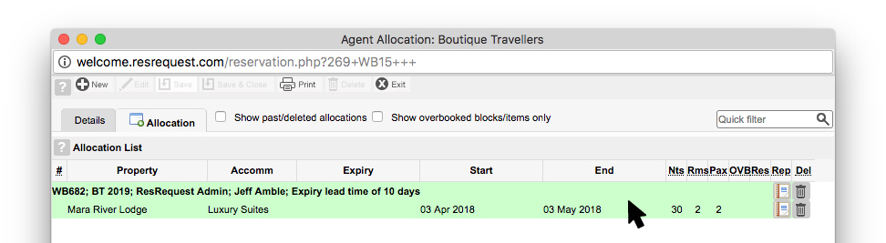 Allocation created successfully in the backend