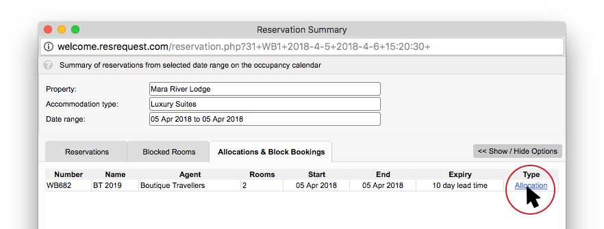 Allocations and block bookings tab