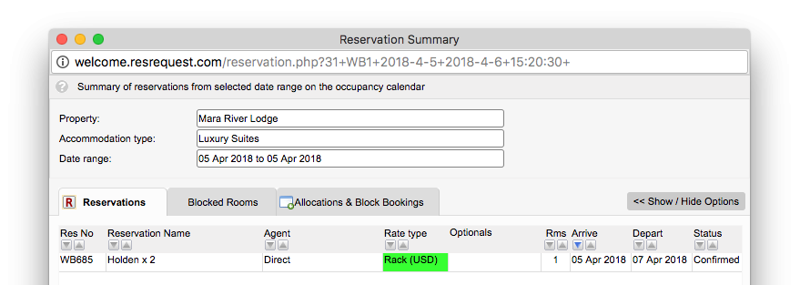 Occupancy reservation details popup